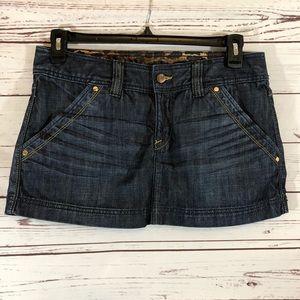NWT Express X2 Dark Wash Zip Front Denim Skirt